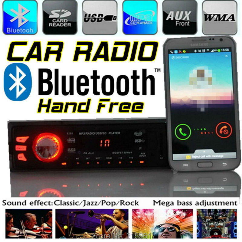 Car Radio Stereo Player Support Bluetooth Phone AUX-IN MP3 FM/USB/1 Din/remote control 12V / 24V Audio Auto radios - QING XIN's store