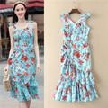 Blue Brand Desinger Runway Dress 2017 Floral Printed Ruffles Women Summer Dress Elegant Slim Vintage Women