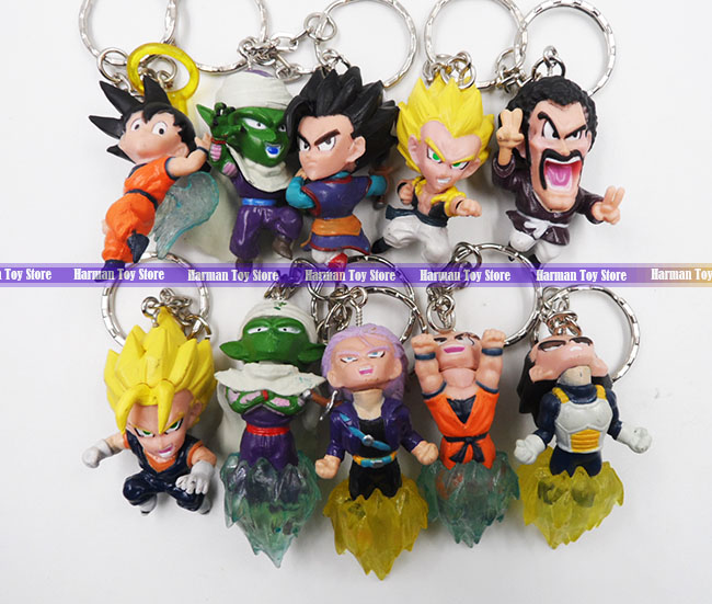 10pcs/LOT 4.5cm pvc Q version Japanese anime figure Dragon ball action figure set keychain kids toys for boys(China (Mainland))
