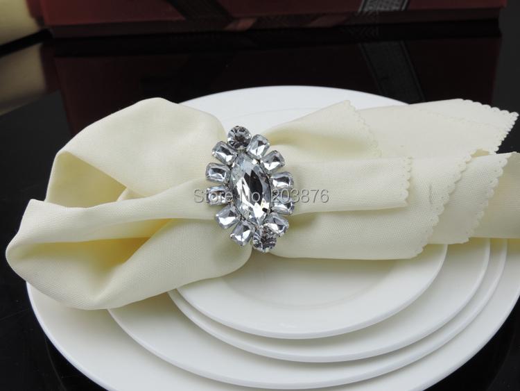 Салфетка crstal 2015 белый цветок кольца партия свадьбы партии таблицы украшения Аксессуары r379