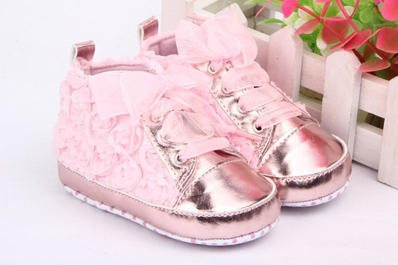 Baby shoes New 1 Pair Baby Girls Toddler Shoes Rose Lace Soft Bottom Princess High Shoes First Walkers