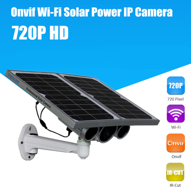 WANSCAM 720P Solar Power Surveillance Camera Built-in Battery P2P AP Onvif Wireless Wifi Outdoor HD Solar Power IP Camera(China (Mainland))