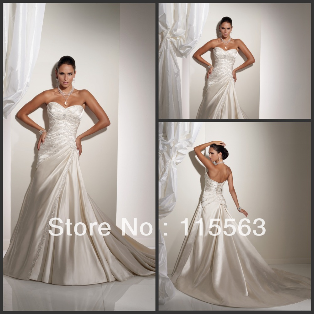 Best Selling Amazing Sweetheart Appliques Satin Court Sexy