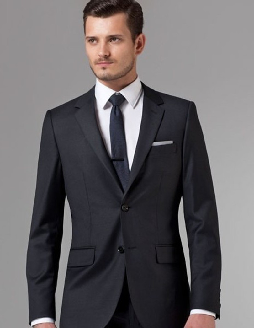 custom made groom tuxedos black and groom wear for wedding suits wool jacket pant free shipping