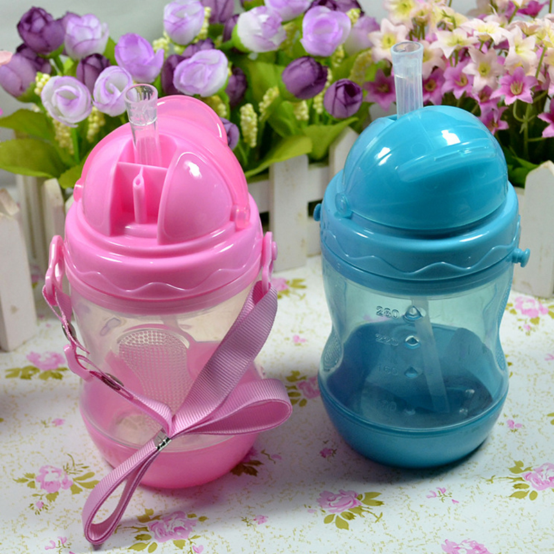 Baby bottle 280ml Baby Kids Straw Cup with Handles Child Bottle Sippy Cups Children Learn Drinking Water Straw Training Cup(China (Mainland))