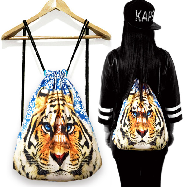Gym Swim School Sport Cinch Sack Animal Print Nylon Drawstring Bags Backpack(China (Mainland))