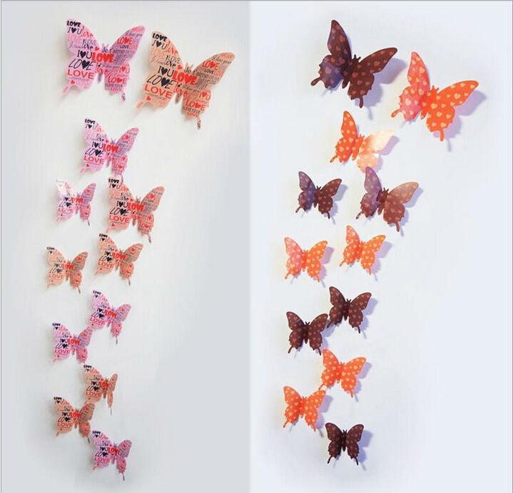 12 Designs12pcs 3d Butterfly Wall Sticker Window Sticker