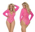 XL 4XL Sexy Plus Size Lingerie Womens Sexy Underwear Nightwear Body Stocking Long Sleeve Bodystocking Pink