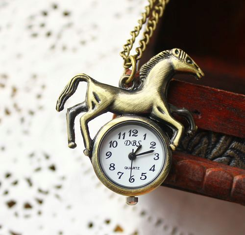 Free shipping wholesale dropship horse pocket watch women quartz analog with long chain for children(China (Mainland))