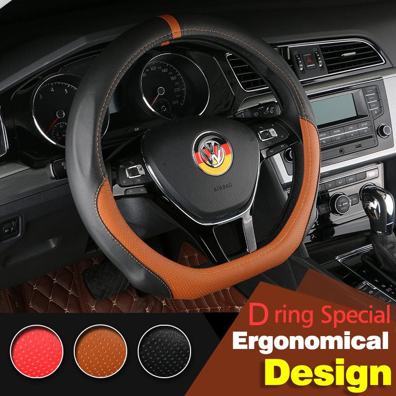 Leather Car Sytling Steering Wheel Cover For Volkswagen VW Golf 7 Mk7 Jetta MK5 MK6 2015 Passat B7 B8 Polo 2015 Auto Accessories(China (Mainland))