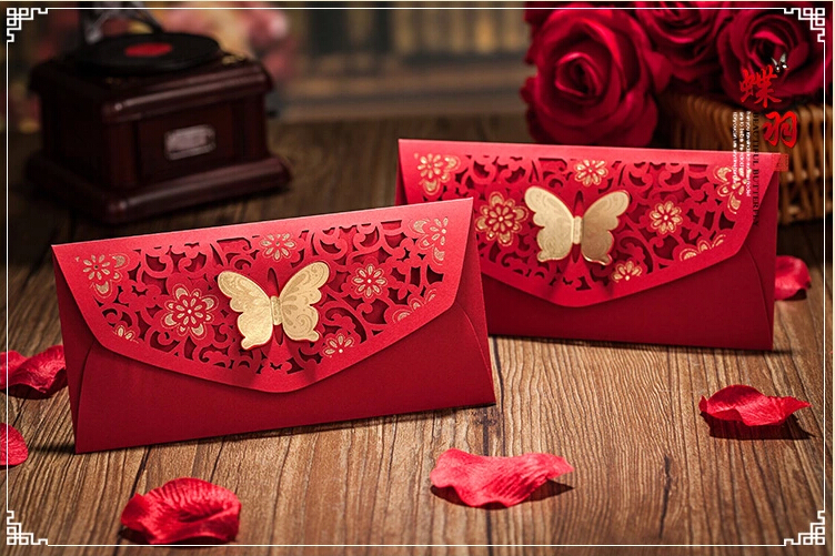 Cut Out Flower Gold Stamping Butterfly Decor Red Packet China Traditional Wedding Favor Money Envelope 50Pcs Free Shipping(China (Mainland))