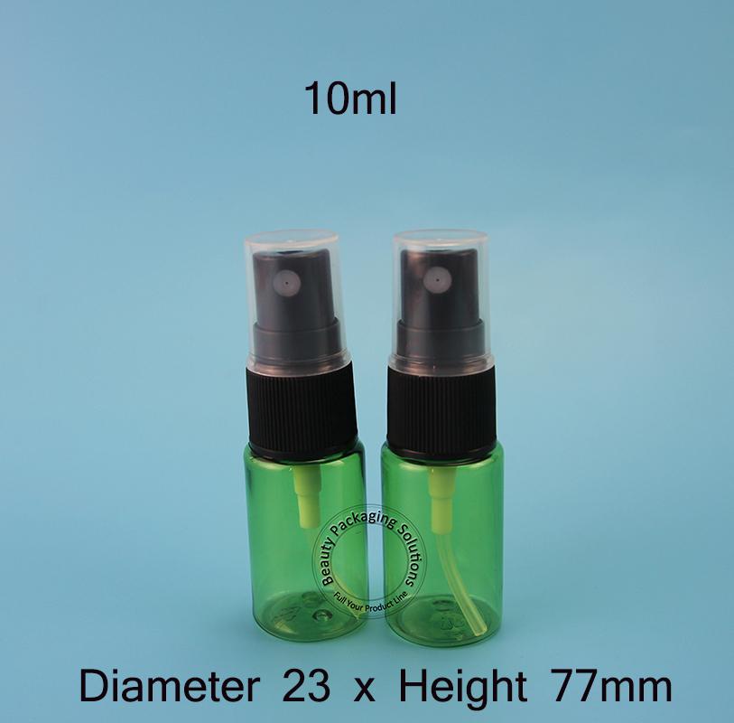 50pcs/Lot Promotion 10ml Perfume Bottle Small Cosmetic10g Black Cap Spray Jar 1/3OZ PET Refillable Plastic Packaging Mini Vials(China (Mainland))