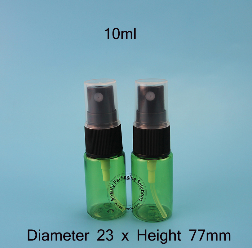 50pcs/Lot Promotion 10ml Perfume Bottles Empty Small Cosmetic Black Cap Spray Jars PET Refillable Plastic Packaging Mini Vials(China (Mainland))