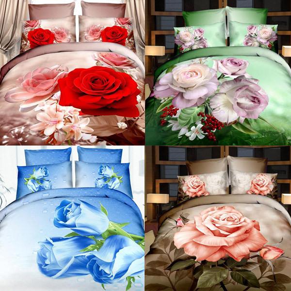Home Textiles 3d bedding sets bedclothes duvet cover sheet pillowcase Queen king twin tiger flower bedspread bed linen(China (Mainland))
