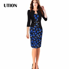 2016 Womens Elegant Faux Jacket One-Piece Belted Tartan Lace Patchwork Wear to Work Business Pencil Sheath Bodycon Dress 3XL 4XL