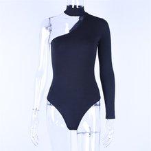 Hugcitar algodón halter de un solo hombro sexy Bodi mujer nueva moda invierno primavera sólido bodycon cuerpo casual(China)