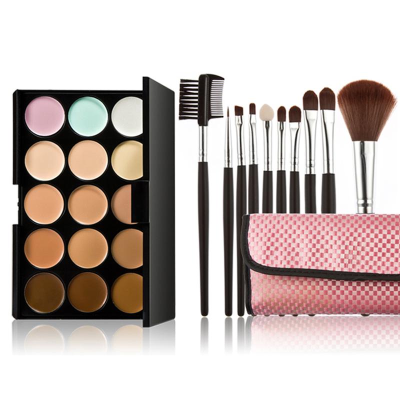 Fashion 15 Colors Pro Face Makeup Cream Primer Camouflage Concealer Palette Cosmetic Palette + 10pcs Brushes Set +Pink Bag