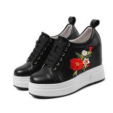 MLJUESE 2019 kadın yarım çizmeler inek deri çiçek sonbahar takozlar artan topuk moda ayakkabı botları bayan botları(China)