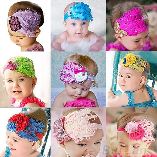 1pc Baby Girl Kids Infant Peacock Feather Headband Hair Band Hair Flower 07RD(China (Mainland))