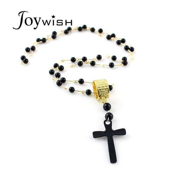Black Cruz Pendant Beads Long Chains Cross Necklaces &amp Pendants for Women Top Sale Fashion Designer Jewelry