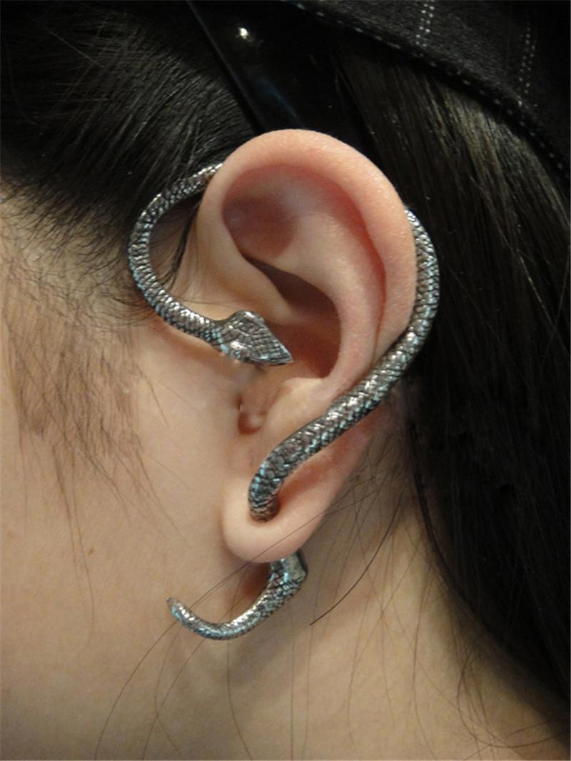 Vintage Style Women Hot Alloy PUNK Nightclub Twining Snake Stud Ear Cuff Earring Earrings Jewelry - JYC Online store