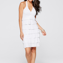2016 Summer Fashion Women Casual Dress Cascading Ruffle Knee-Length V-Neck Off the Shoulder Solid White Party Dress vestidos(China (Mainland))
