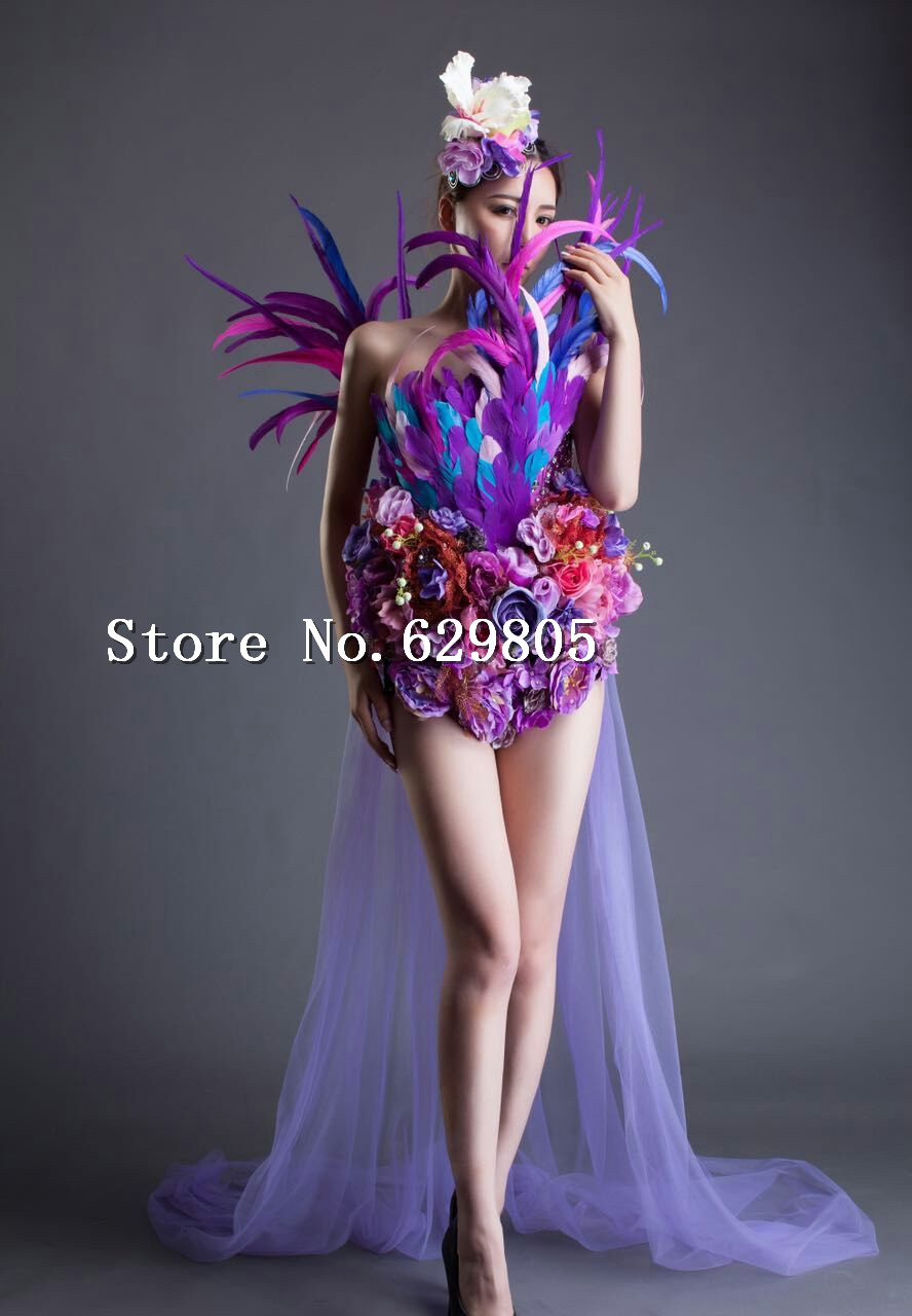Design Sexy Women's Purple Rose Flower Dress Feather Dress Long Tail Costume Female Singer Party Dress Prom Clothing Set Wear(China (Mainland))