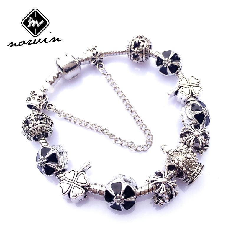 Norvin 2015 new 925 Silver women Jewelry crown Charm Bracelets & Bangles for women with Clover Beads Bracelet CH023 wholesale(China (Mainland))