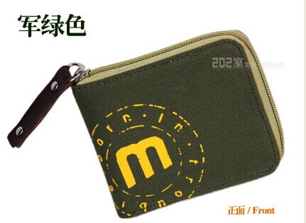 Olive Green male men's casual wallet purse handmade student teen's canvas wallet card case with zipper coin purse free shipping(China (Mainland))