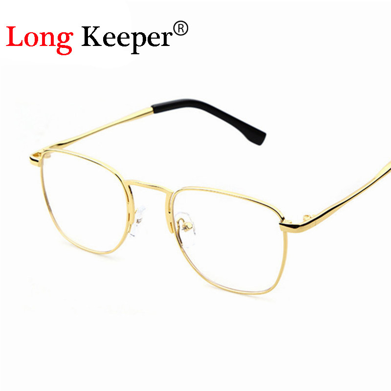 2016 new men woman glasses mens optical frames clear lens eyeware square black brown silver gold glasses frame p023