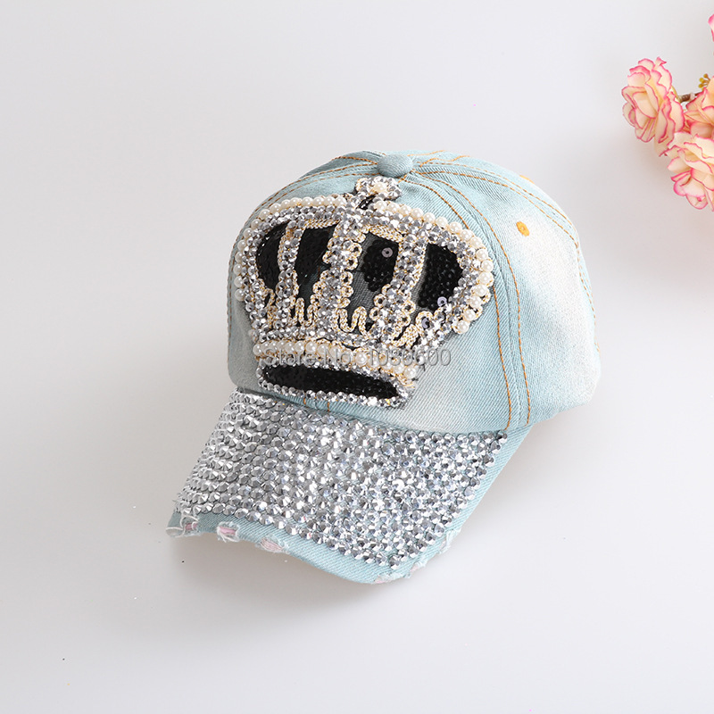 2015 women cowboy hat crown Denim Jeans washed cotton glitter rhinestones snapback baseball cap(China (Mainland))