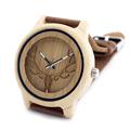2016 Deer Head WIth Hollow Out Technology Bamboo Wood Casual Watch With Genuine Leather Strap Quartz