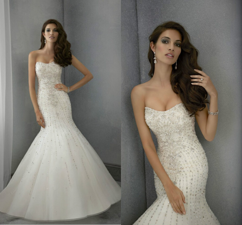 Custom made white sexy mermaid wedding dresses 2015 luxury for Custom mermaid wedding dress