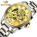 Fashion Luxury Brand BINSSAW Men Watches 2016 New automatic Mechanical Watch Gold Male skeleton Wristwatch relogio