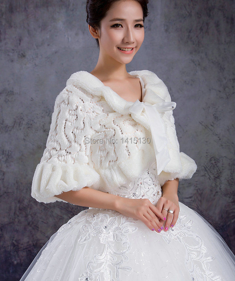 2015 wedding dress bridal faux fur white cape wrap shrug
