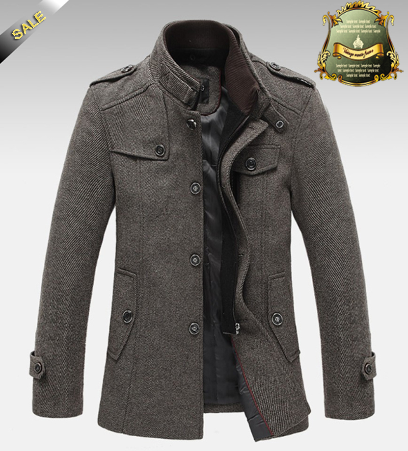 TOP Quality Jackets For Men Overcoat Autumn and Winter Jacket Splice Wool Warm Coat Slim Fit ...