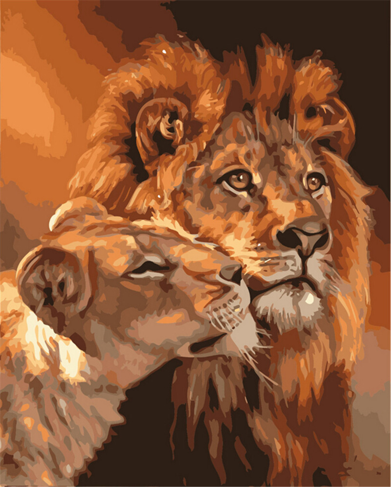 Digital Modern Oil Painting On Canvas Unique Gifts for lions King The Frameless Painting By Numbers Picture Home Decoration(China (Mainland))