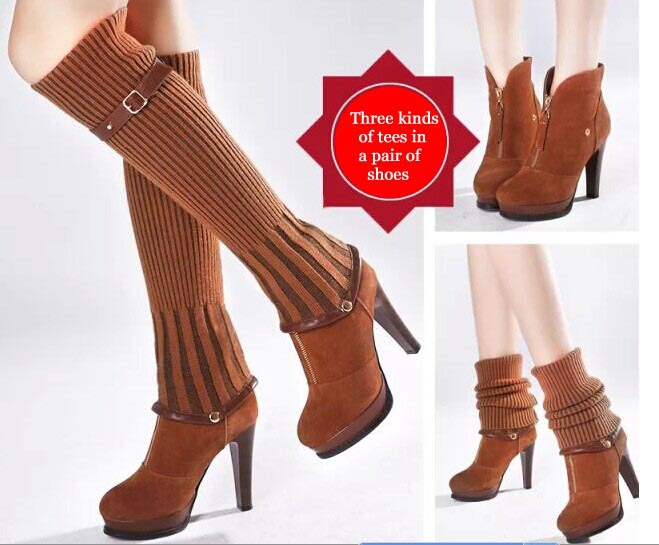 Spring 2015 new female high-heeled shoes thin waterproof boots short wool Korean - eight store