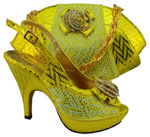 MM1003 Good quality cheap price Yellow color African shoes and bag sets,Italian design high heel shoes with matching bag