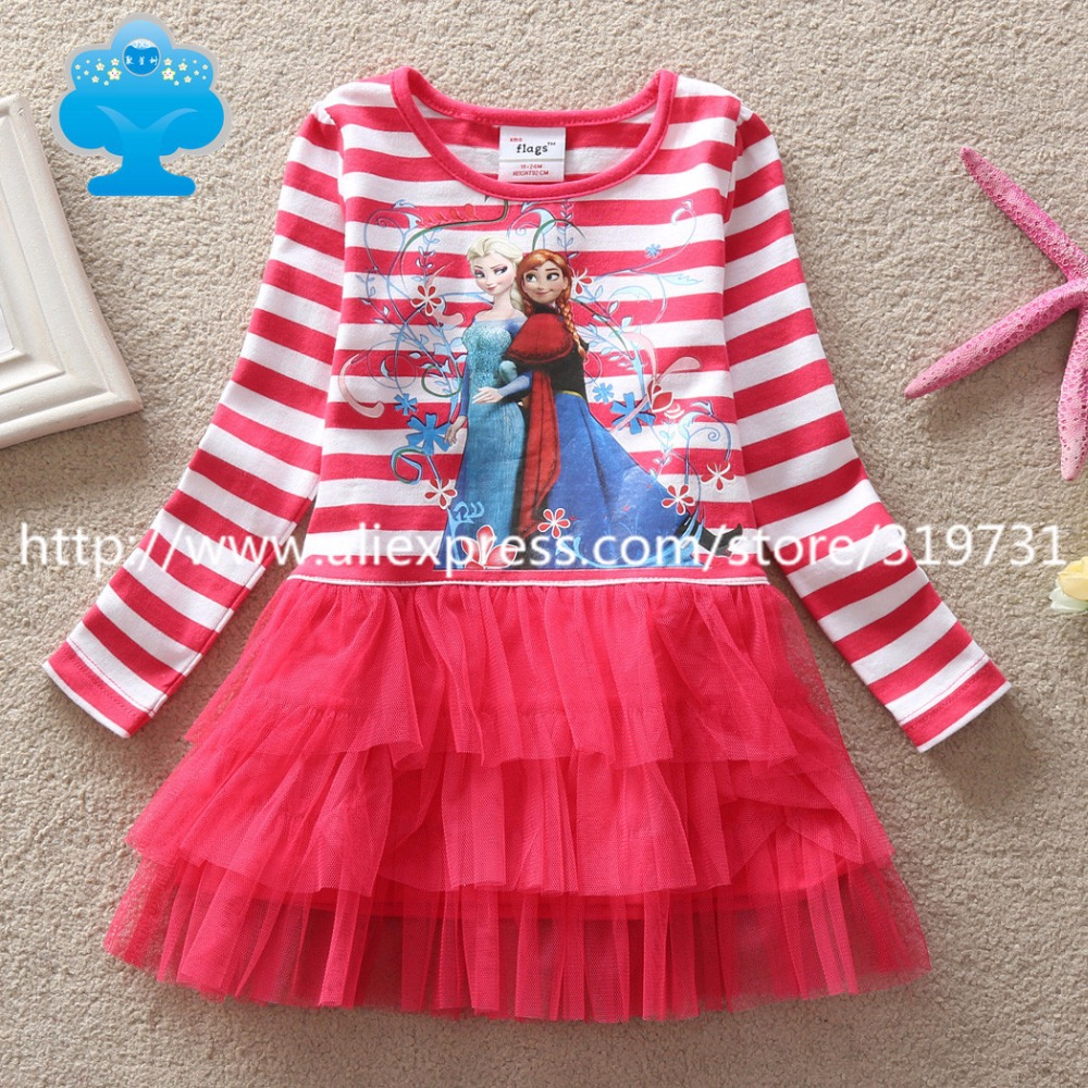 girls dresses fashion princess dress elsa anna striped long sleeve cute girl kids clothes baby HOT sale