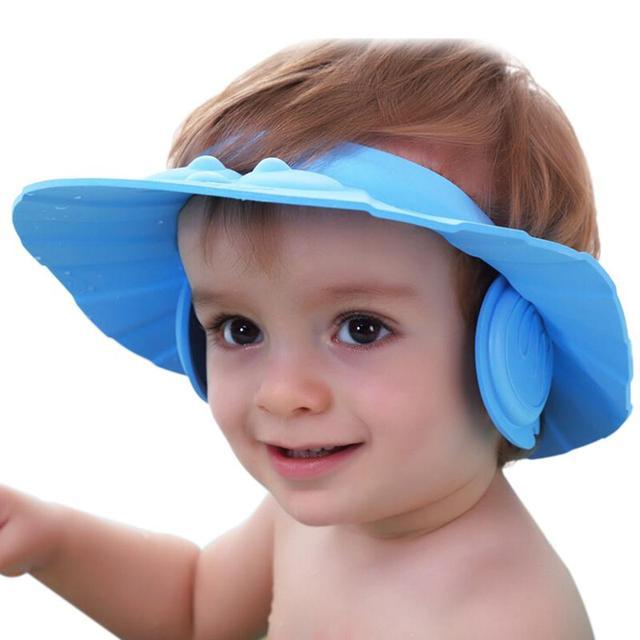 Регулируемая EVA утолщаются ребенка ванна козырек дети шапочка для душа детский шампунь ...