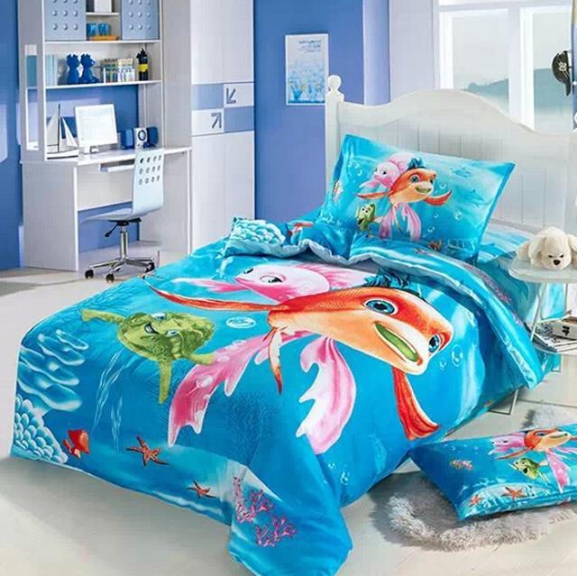 Cartoons Bedroom Sets For Teenagers : Ocean-Kids-girls-cartoon-bedding-comforter-set-twin-size-bedspread-bed ...