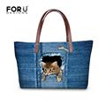 Blue Jean Lovely Cat Women Handbag Top Quality Shoulder Bags Designer Lady Messenger Top Handle Bags