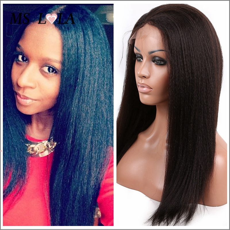 Italian Yaki Full Lace Wig Glueless Virgin indian remy wet and wavy Human Hair Wig Cheap Unprocessed Italian Yaki Lace Front Wig(China (Mainland))