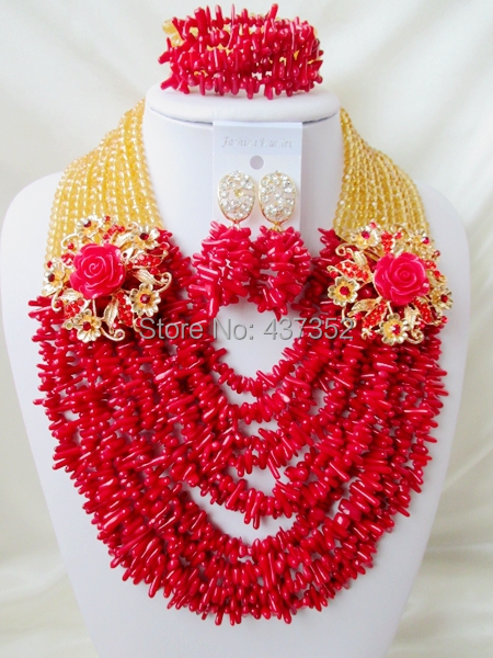 Wholesale! Champagne Gold Crystal Red Coral Chips Necklaces Nigerian Wedding African Coral Beads Jewelry Set CWS1235<br><br>Aliexpress