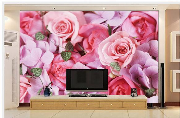 New large wallpaper Custom wallpaper Pink roses wallpaper 3D mural wall paper papel de parede wall stickers9266266(China (Mainland))