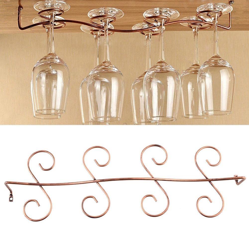 Bar accessories 8 Wine Glass Rack Stemware Hanging Under Cabinet Holder Hanger(China (Mainland))