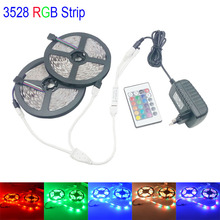 10M 3528 smd rgb LED strip light led strip 12v leds tape rgb diode waterproof flexible led 24Key controller DC 12V 3A power(China (Mainland))