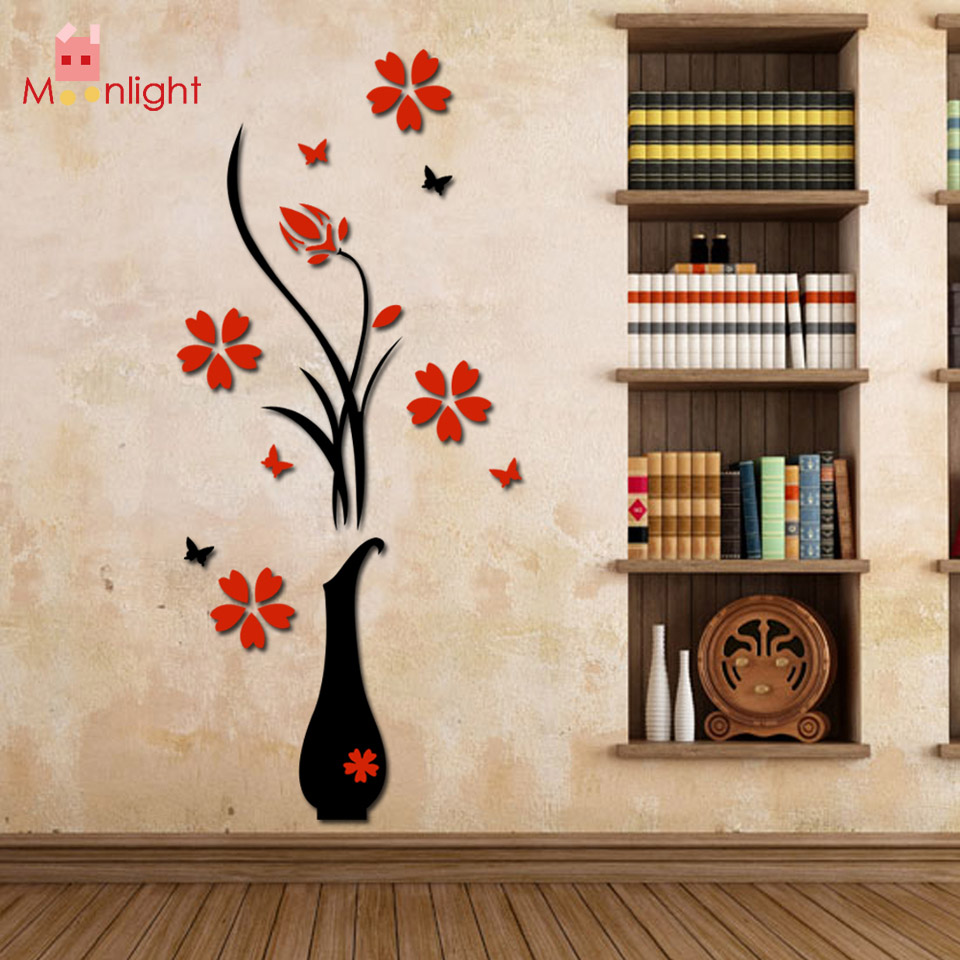 BEST Stickers Acrylic 3D Plum Flower Vase Wall Stickers Home Decor Wall Decal Red Floral Wall Sticker(China (Mainland))