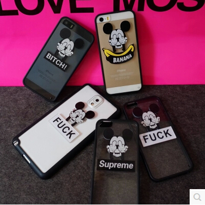 Fashion Cute Cartoon Mouse DIY Case Cover For Apple iPhone 5 5S 3D Case Cartoon 5 Series Cute Transparent Case Free Shipping(China (Mainland))